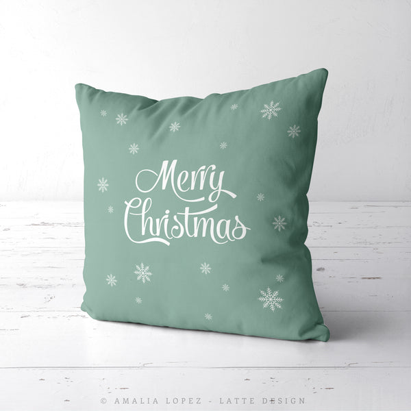 Let it snow. Pale green Christmas cushion
