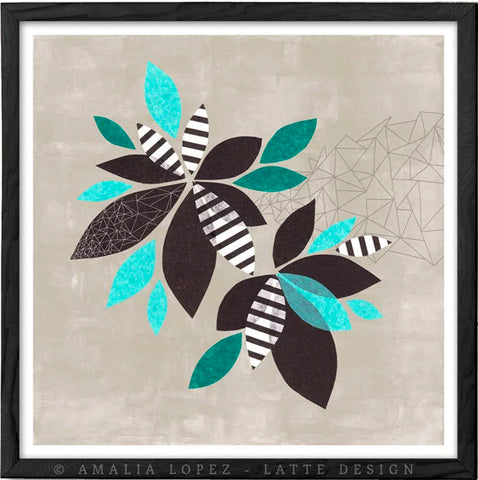 Botanical collage 1. Teal and black print
