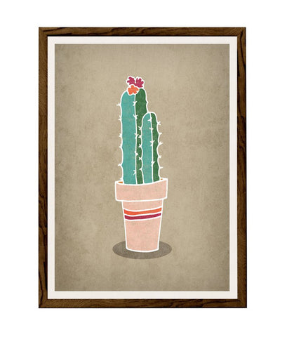 Cactus 2. Green and brown illustration print