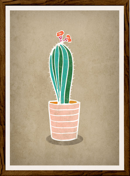 Cactus 3. Green and brown illustration print
