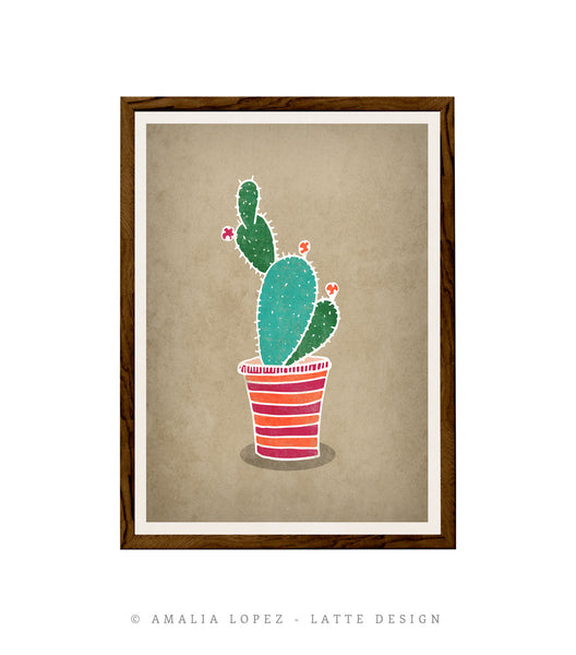 Cactus 4. Green and brown illustration print