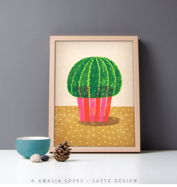 Cactus 1. Green and brown illustration print