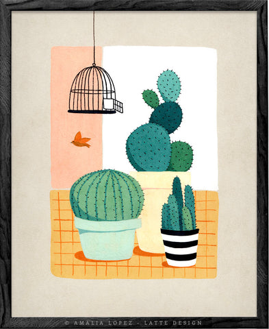 Cactus and bird. Botanical illustration print