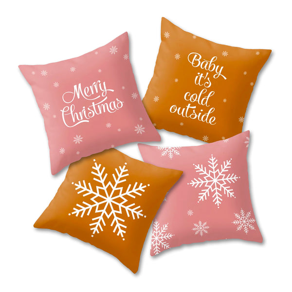 Snowflakes. Pink Christmas cushion