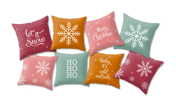 Merry Christmas. Burgundy Christmas cushion