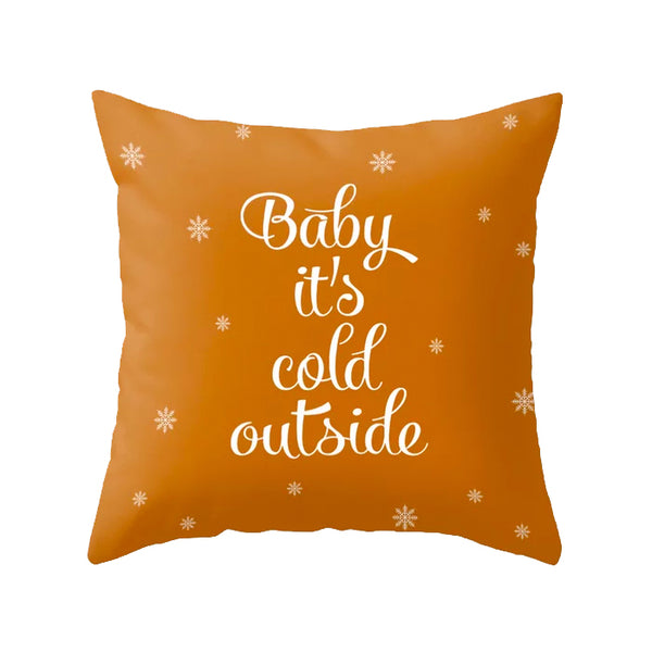 Snowflakes. Burnt orange Christmas cushion