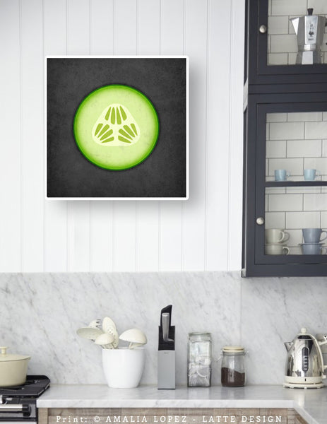 Cucumber print. Green Kitchen print - Latte Design  - 2