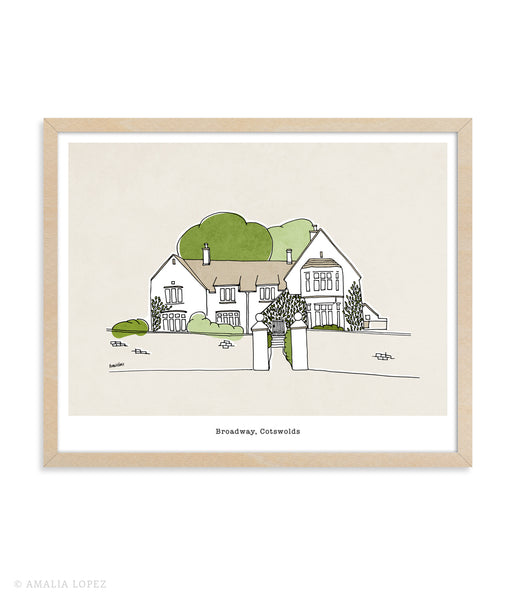 Custom hand-drawn house portrait
