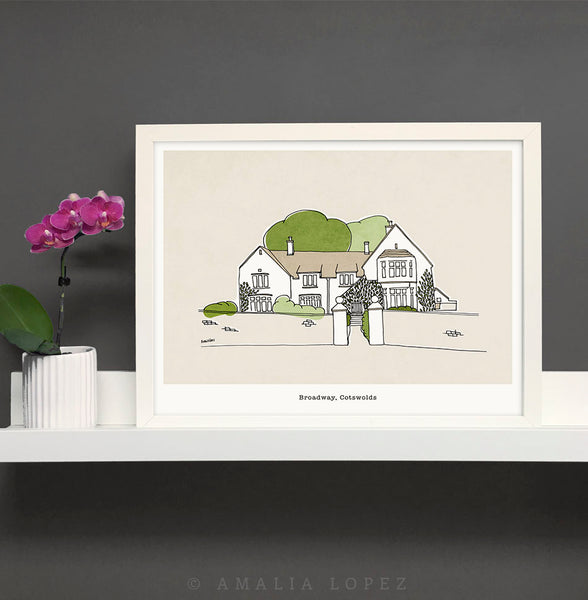 Custom hand-drawn home portrait