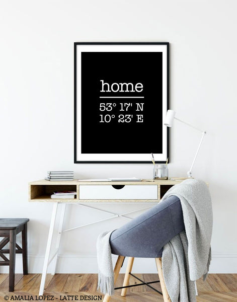 Black Custom Home location print