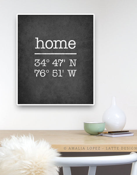 White Custom Latitude and Longitude print