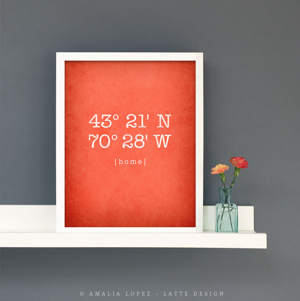 Coral red custom coordinates print