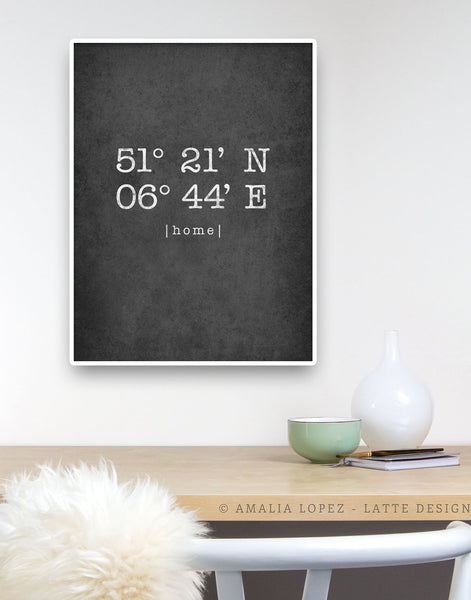 Grey Custom Latitude and Longitude print