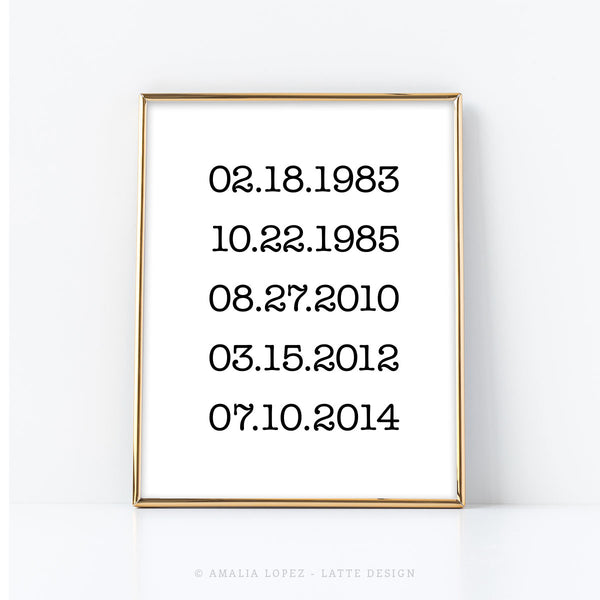 Custom dates print. Special dates print. Family gift. Black and white print