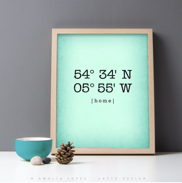 Mint Custom Latitude and Longitude print