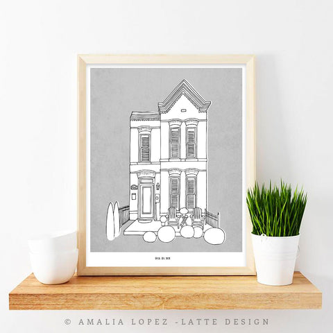 Custom home portrait. Line illustration with coloured background