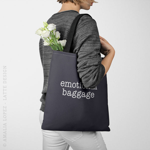 Emotional Baggage green typography tote bag