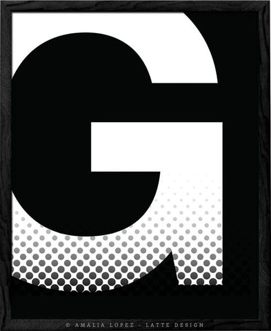 Letter G print. Black and white typography print