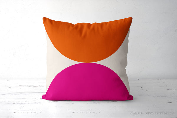 2 Circles. Orange and Magenta geometric cushion