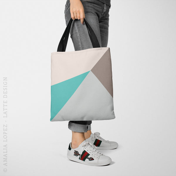 Geometric tote bag in taupe and teal