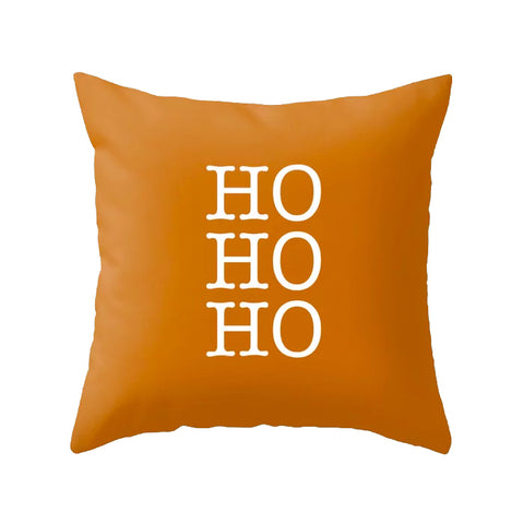 HO HO HO. Burnt orange Christmas cushion