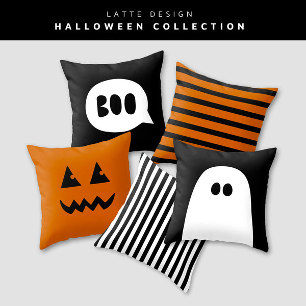 Ghost 2. Black and white Halloween cushion
