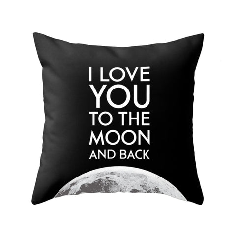 I love you to the moon and back cushion. Black typography cushion
