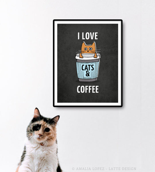 I love cats and coffee. Grey coffee print