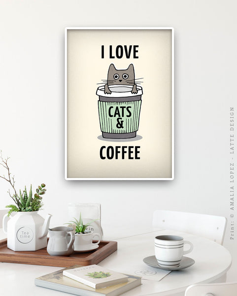 I love cats and coffee. Coral red coffee print