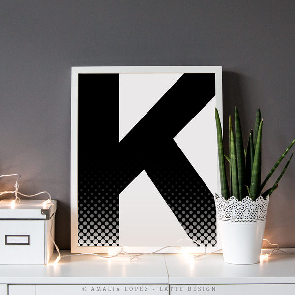Letter G print. Black and white typography print - Latte Design  - 3