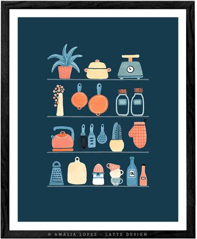 Kitchen shelves. Blue illustration print