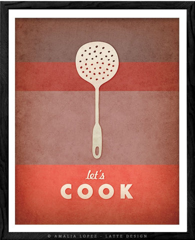 Let's cook print. Red kitchen print