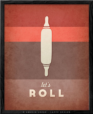 Let's roll. Red kitchen print