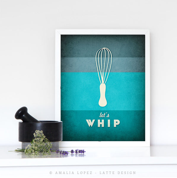 Let's whip. Teal kitchen print - Latte Design