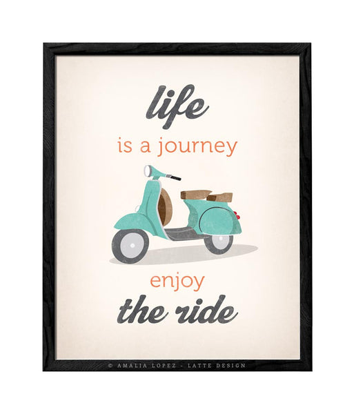 Life is journey enjoy the ride. Blue print - Latte Design  - 4