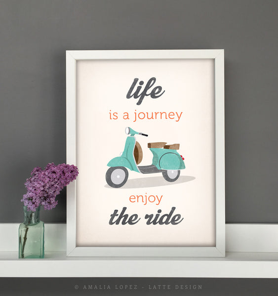 Life is journey enjoy the ride. Blue print - Latte Design  - 3
