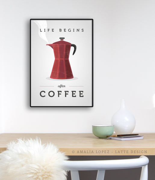Life begins after coffee print. Red kitchen print