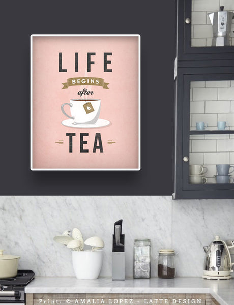 Life begins after tea print. Mint retro kitchen print