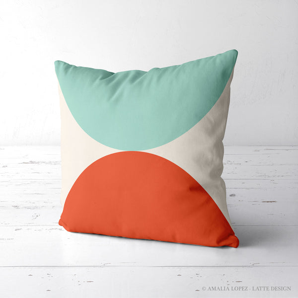 2 Circles. Mint and red geometric cushion