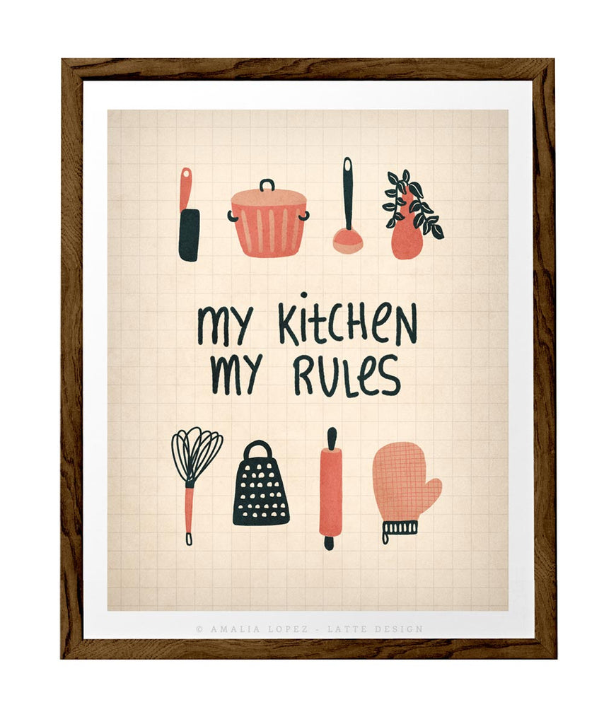 My kitchen my rules. Cream illustration print