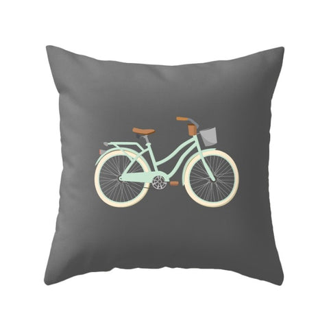 Grey Bike nursery pillow - Latte Design  - 1