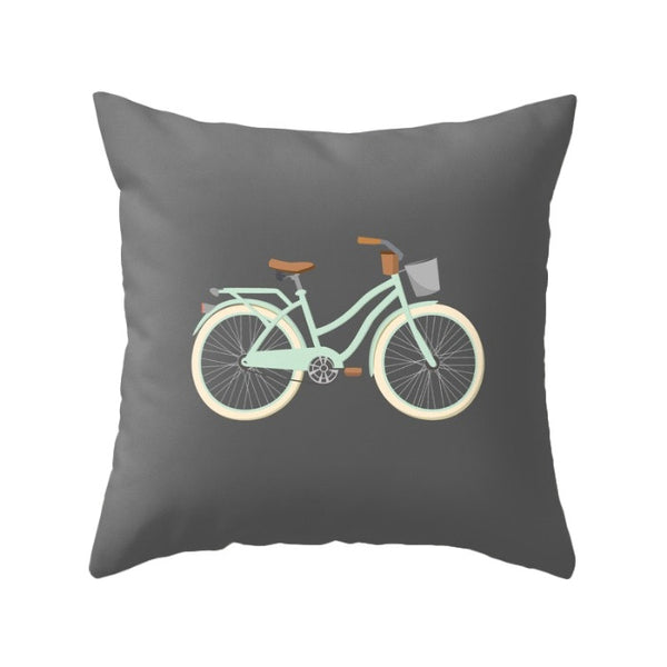 Green Bike nursery Cushion - Latte Design  - 2