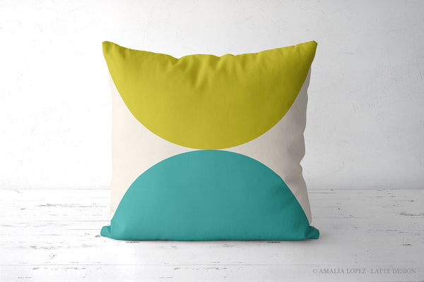 2 Circles. Green and turquoise geometric cushion