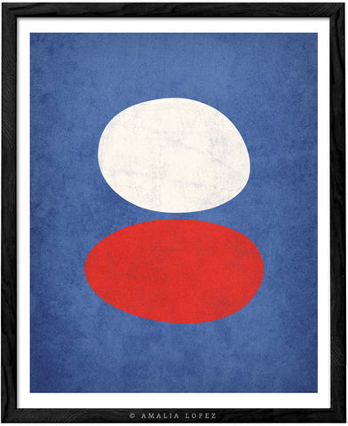 Organic blue, red and white. Abstract minimal print