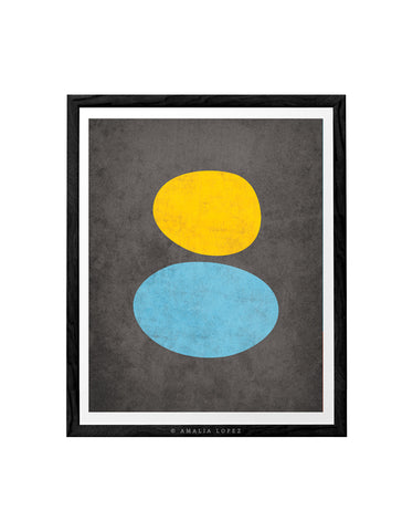 Organic in light blue, yellow and grey. Abstract minimal print