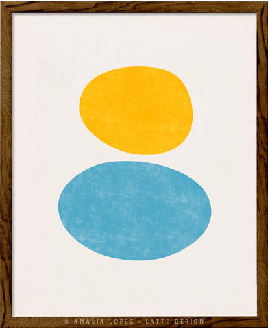 Organic in light blue and yellow. Abstract minimal print