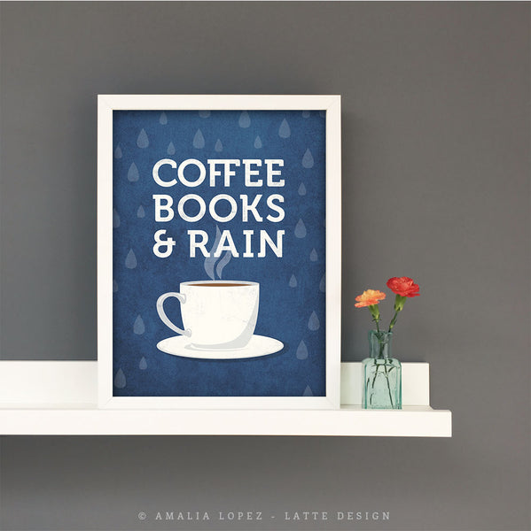 Coffee books and rain. Blue Coffee print