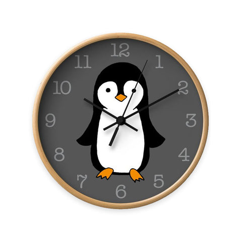 Baby penguin nursery wall clock. Monochrome nursery clock