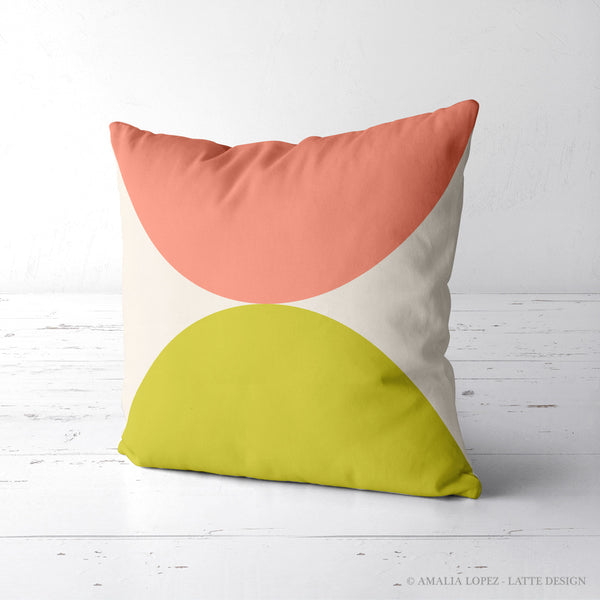2 Circles. Pink and green geometric cushion