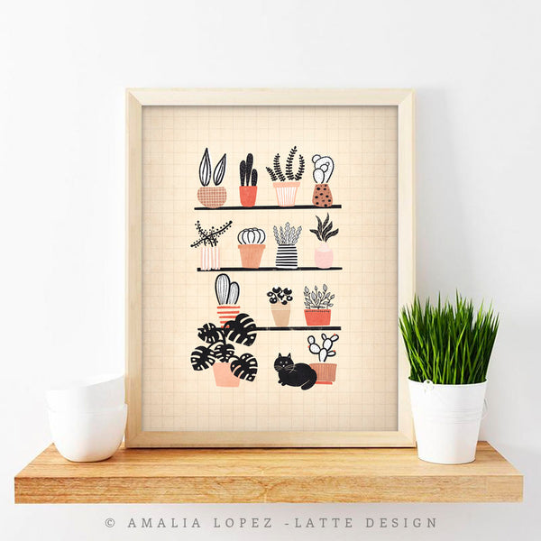 Plants and black cat. Cream illustration print